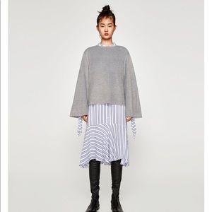 Grey Faux Fur Sweatshirt, NWT